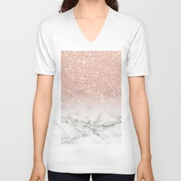 Modern faux rose gold pink glitter ombre white marble Unisex V-Neck
