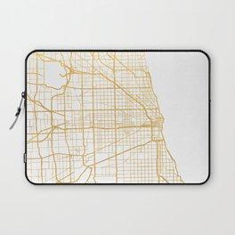 CHICAGO ILLINOIS CITY STREET MAP ART Laptop Sleeve