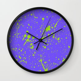 Lime Green Spray Splatters on Lavender Surface Wall Clock