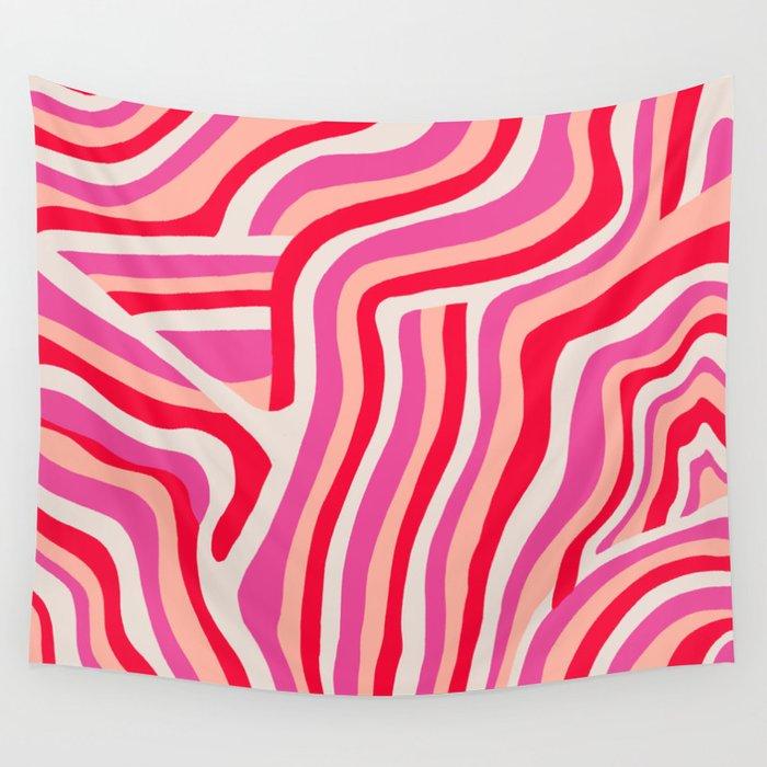 pink zebra stripes Wall Tapestry