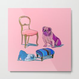 animals with chairs #2 Socializing Metal Print