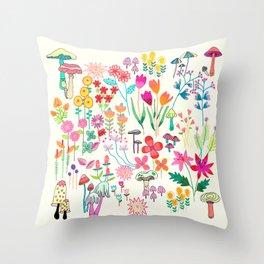 The Odd Floral Garden I Throw Pillow