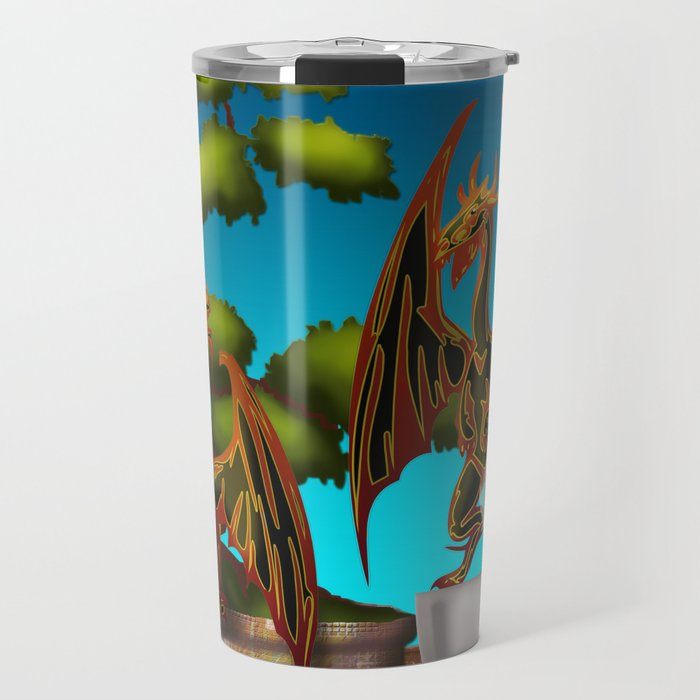 Hot Coffee with Bonsai and Fire Dragons Travel Mug