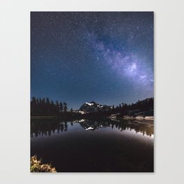 Summer Stars - Galaxy Mountain Reflection - Nature Photography Canvas Print