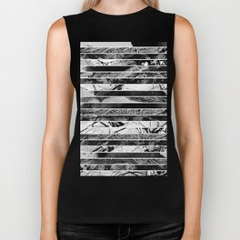 Black And White Layered Collage - Textured, mixed media Biker Tank