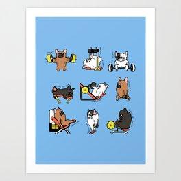 Leg Day with French Bulldog Art Print