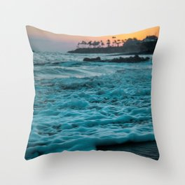 The Sunset Shore (Color) Throw Pillow