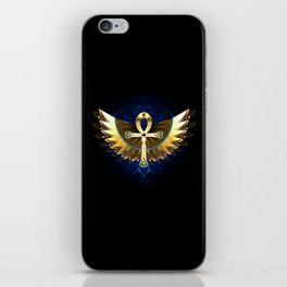 Gold Ankh with Wings iPhone Skin