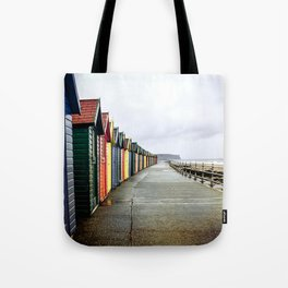 Whitby beach huts Tote Bag
