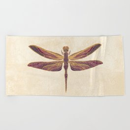 Art Nouveau Dragonfly In Purple Beach Towel