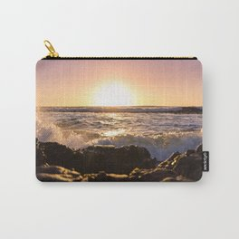 Wave splash against pink sunset - Landscape Photography Carry-All Pouch