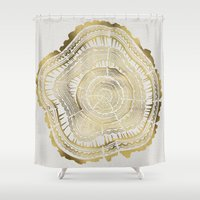 black Shower Curtains featuring Gold Tree Rings by Cat Coquillette
