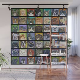 Cats and Dogs in Black Wall Mural