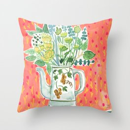 Think Happy Floral Throw Pillow