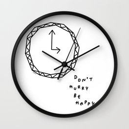 Be Happy - black and white illustration Wall Clock