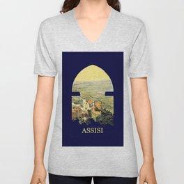 Vintage Litho Travel ad Assisi Italy Unisex V-Neck
