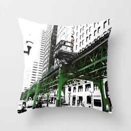 Chicago photography - Chicago EL art print in green black and white Throw Pillow