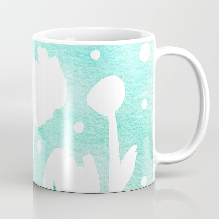 Whimsical watercolor flowers – turquoise Coffee Mug