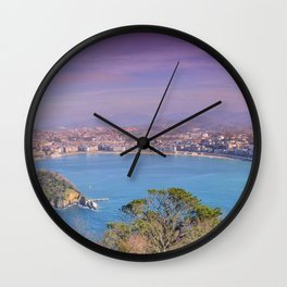 La Concha Bay seen from Igeldo Mount. Wall Clock