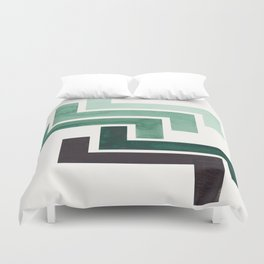 Deep Green Pattern Mid-century Modern Simple Geometric Pattern Watercolor Minimalist Art Squares Duvet Cover