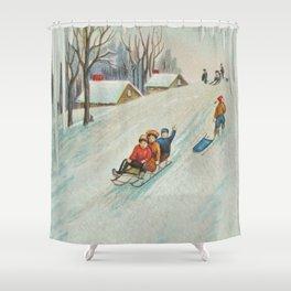 Happy vintage winter sledders Shower Curtain
