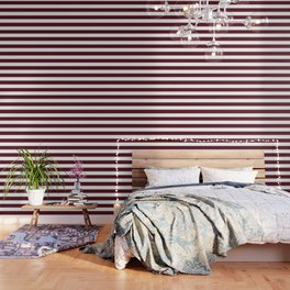 Chocolate cosmos - solid color - white stripes pattern Wallpaper
