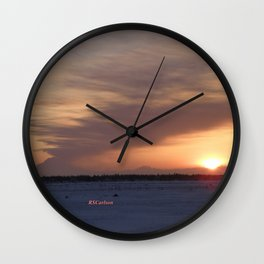 Mt. Redoubt Ashflow at Sunset #1 Wall Clock