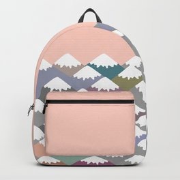 Nature background with Mountain landscape. Gray, pink, blue navy mountain with snow-capped peaks. Backpack
