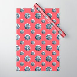pine cone pattern in coral, aqua and indigo Wrapping Paper