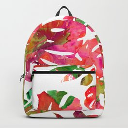 MONSTERA FLORAL - WHITE Backpack