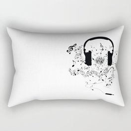 Headphones and Music Notes Rectangular Pillow