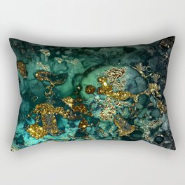 Gold Indigo Malachite Marble Rectangular Pillow