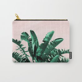 Turquoise Banana and palm Leaves Carry-All Pouch