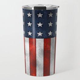 American Flag Stars and Stripes Distressed Grunge 4th. July Travel Mug