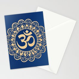Blue and Gold Ohm Mandala Stationery Cards
