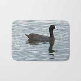 American Coot Reflecting on the Water - Photography Bath Mat