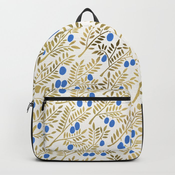 Olive Branches – Gold & Blue Backpack