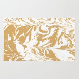 Suminagashi japanese spilled ink watercolor swirl marble pattern ocean gold and white minimalist art Rug