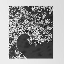 Zen Tree Rebirth Black Right Half Throw Blanket