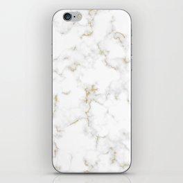 Fine Gold Marble Natural Stone Gold Metallic Veining White Quartz iPhone Skin