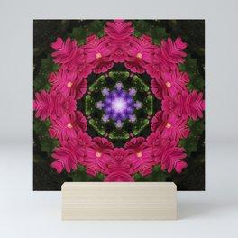 Hot Pink Gerbera And Cool Blue Viola Kaleidoscope Mini Art Print