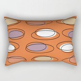 Mid Century Modern Ovals Scribbles Orange Rectangular Pillow