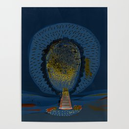 Tree Cactus in a Blue Desert Poster