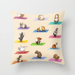 The Yoguineas - Yoga Guinea Pigs - Namast-hay! Throw Pillow