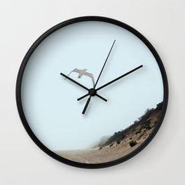 Gull and Foggy Beach Wall Clock