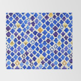 Rustic Watercolor Moroccan in Royal Blue & Gold Throw Blanket