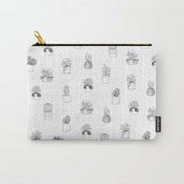 Potted Cactus Pattern Black and White Carry-All Pouch