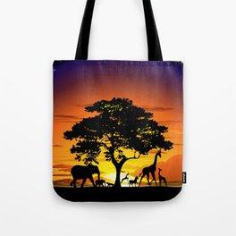 Wild Animals on African Savanna Sunset Tote Bag