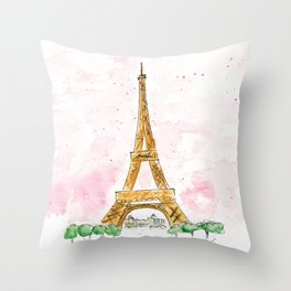 Pink Sky Eiffel Tower Watercolor Throw Pillow