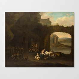 DUTCH SCHOOL, 17TH CENTURY Peasants in the Yard Canvas Print